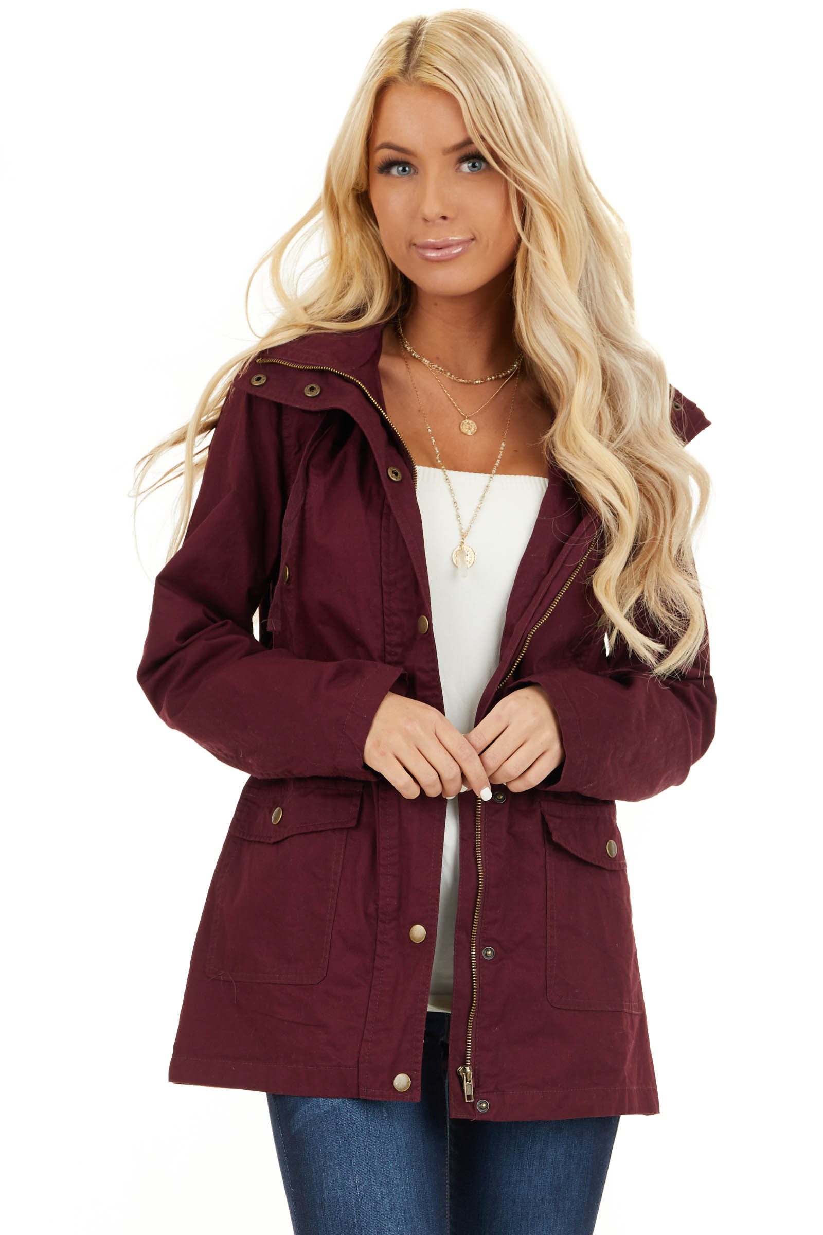 Burgundy Hooded Long Sleeve Military Jacket with Pockets front close up