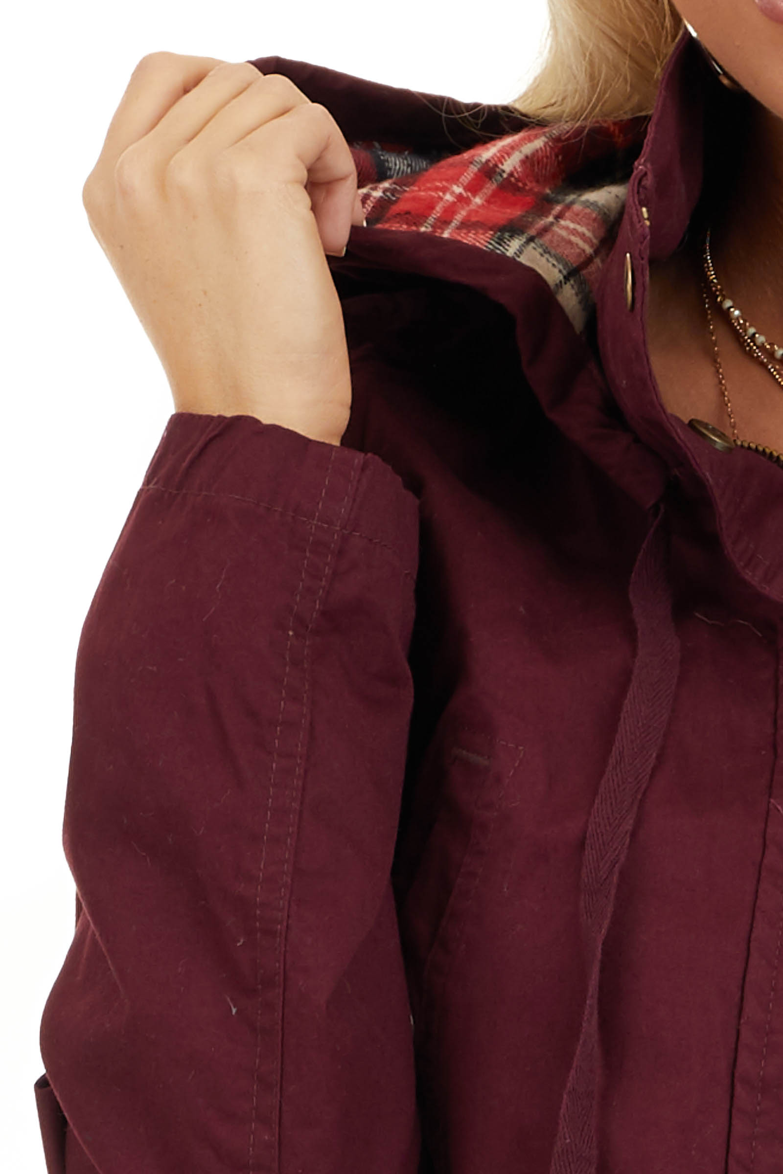 Burgundy Hooded Long Sleeve Military Jacket with Pockets detail