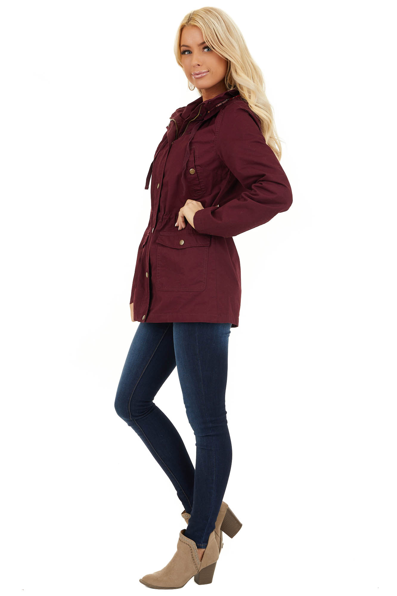 Burgundy Hooded Long Sleeve Military Jacket with Pockets side full body
