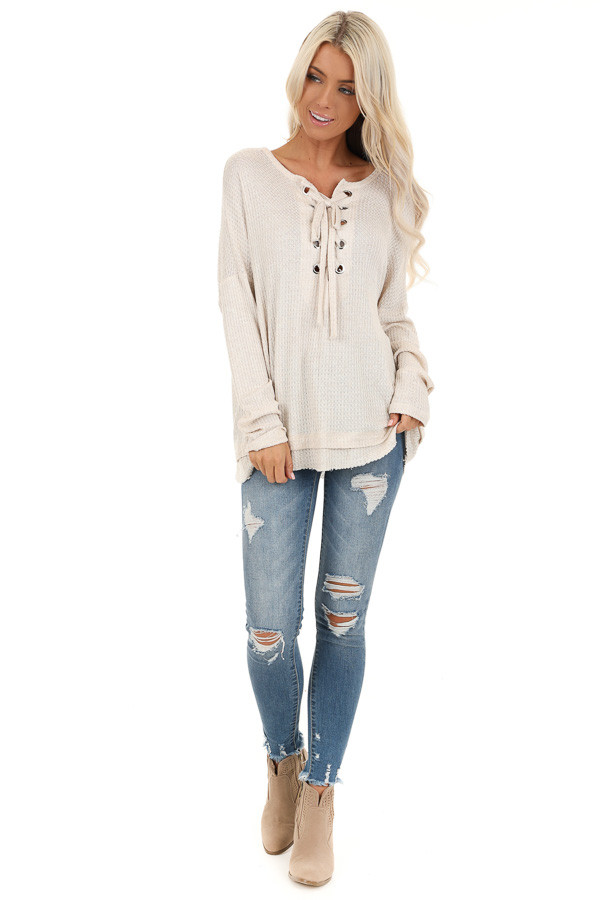Ivory Long Sleeve Waffle Knit Top with Front Lace Up Detail front full body