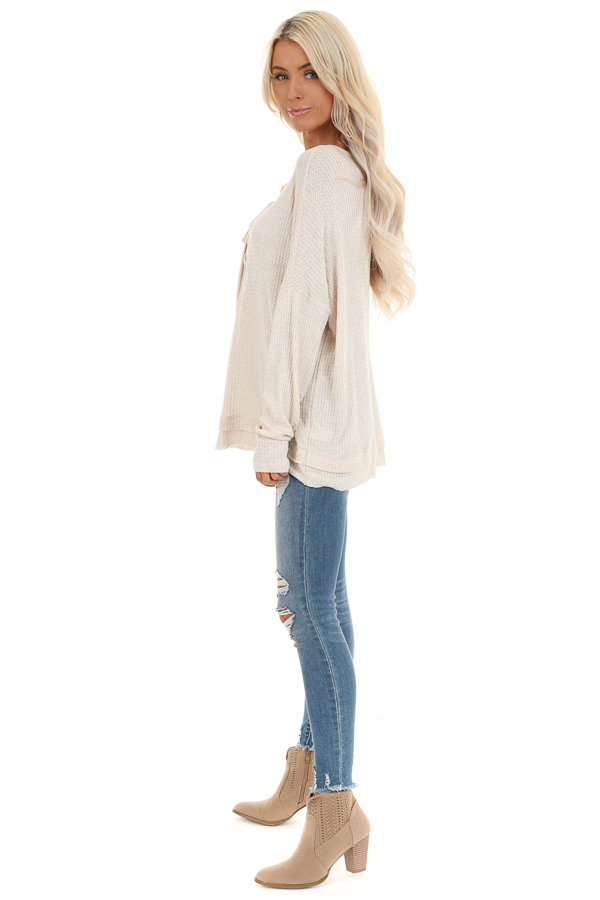 Ivory Long Sleeve Waffle Knit Top with Front Lace Up Detail side full body
