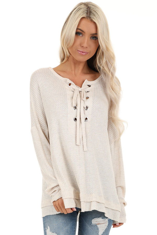 Ivory Long Sleeve Waffle Knit Top with Front Lace Up Detail front close up