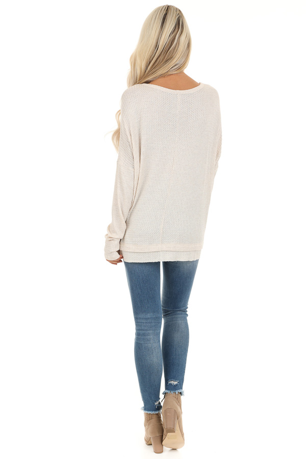 Ivory Long Sleeve Waffle Knit Top with Front Lace Up Detail back full body