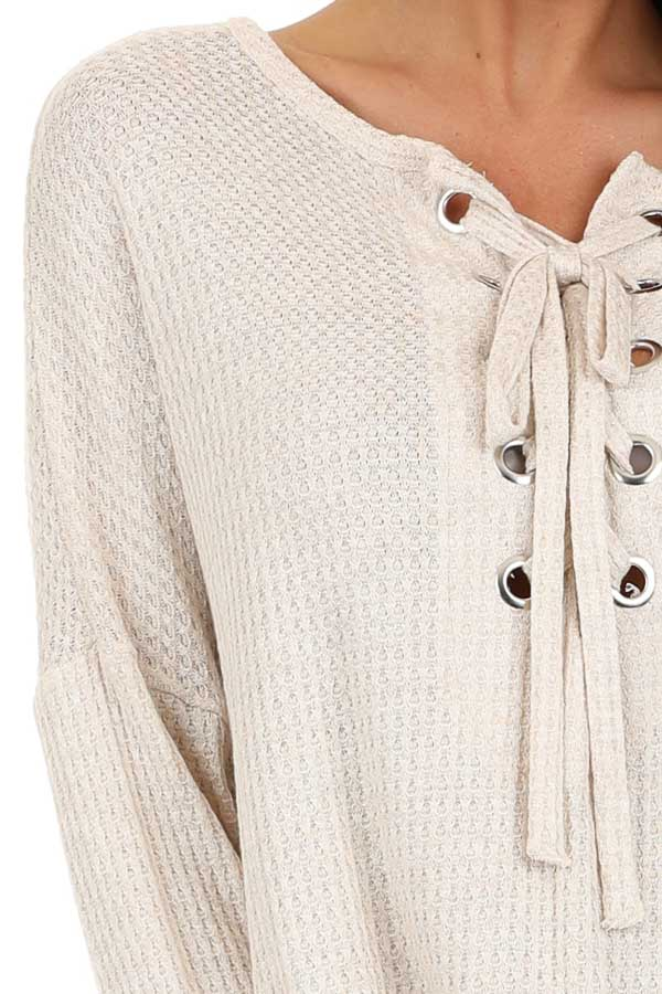 Ivory Long Sleeve Waffle Knit Top with Front Lace Up Detail detail
