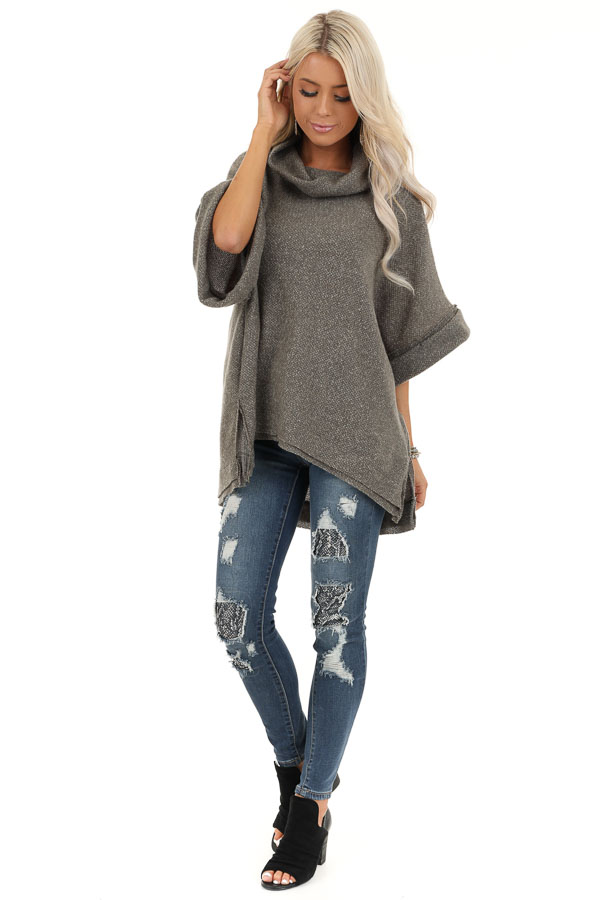Charcoal Grey Oversized Top with Wide Dolman Sleeves front full body