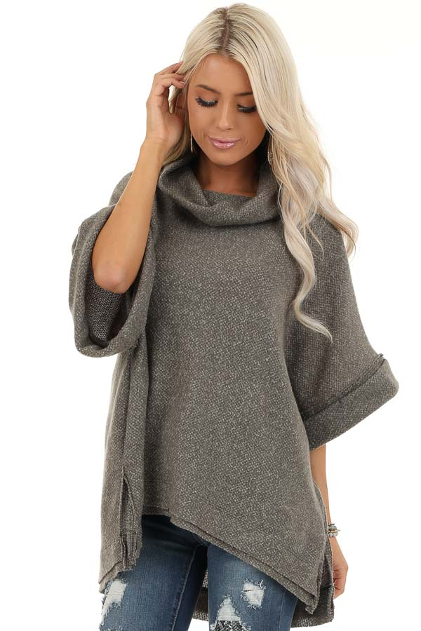 Charcoal Grey Oversized Top with Wide Dolman Sleeves front close up