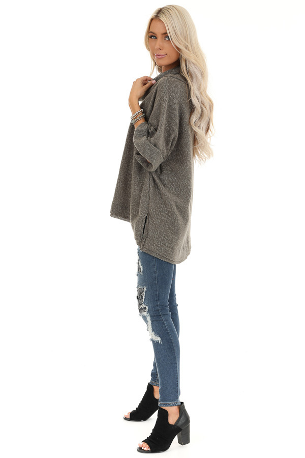 Charcoal Grey Oversized Top with Wide Dolman Sleeves side full body