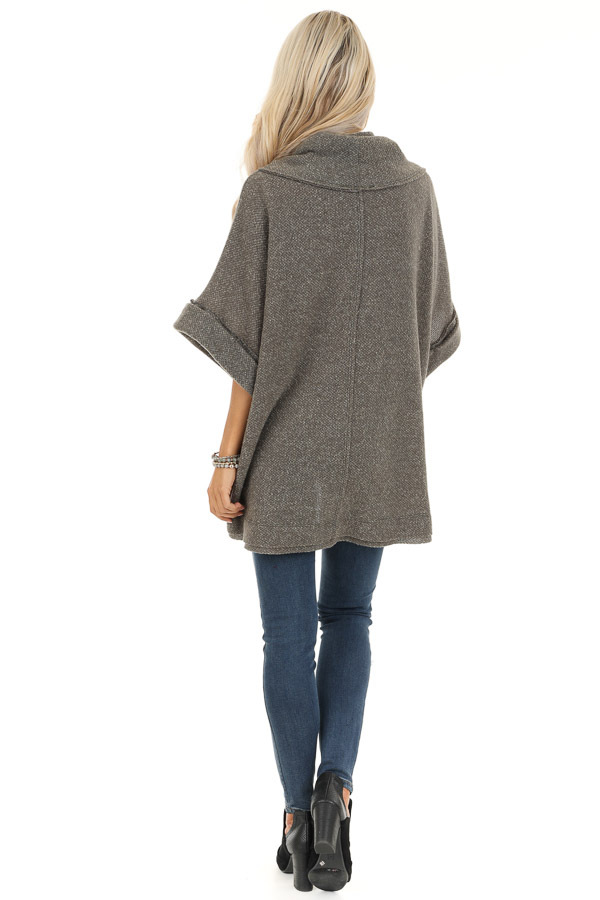 Charcoal Grey Oversized Top with Wide Dolman Sleeves back full body