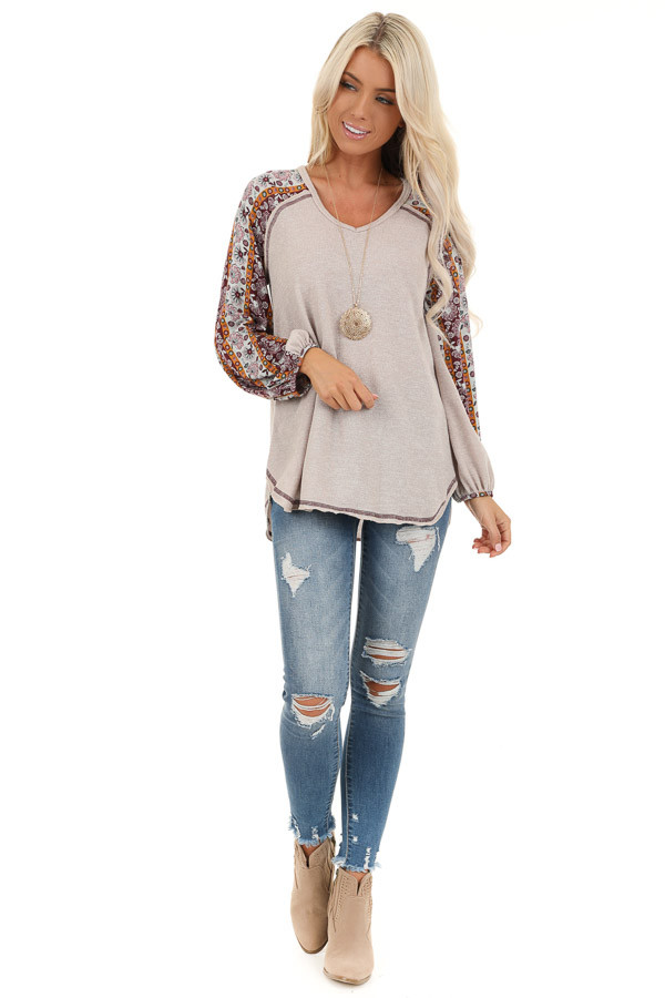 Beige Knit Top with Multi Print Long Sleeves front full body
