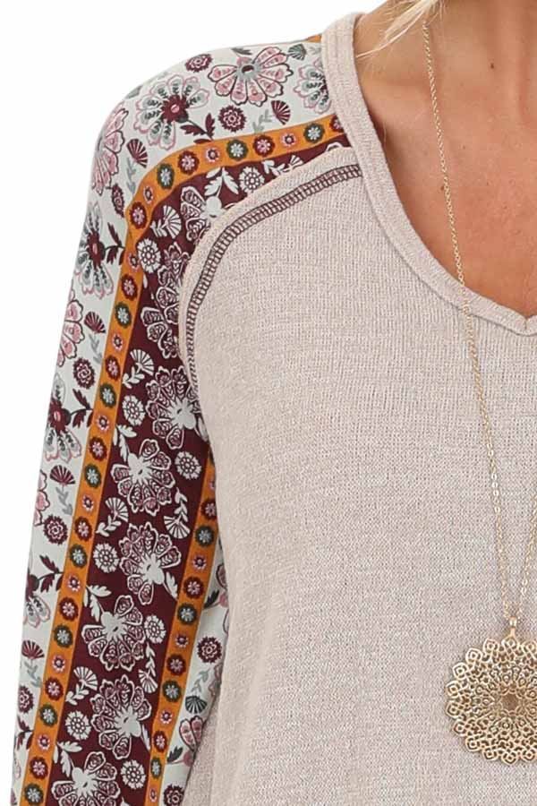 Beige Knit Top with Multi Print Long Sleeves detail