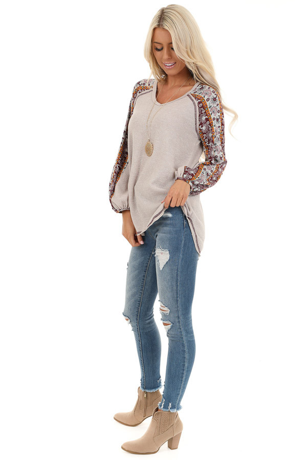 Beige Knit Top with Multi Print Long Sleeves side full body