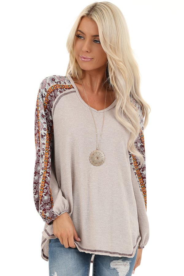 Beige Knit Top with Multi Print Long Sleeves front close up