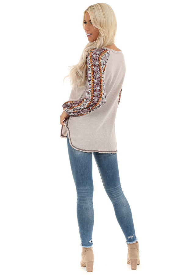 Beige Knit Top with Multi Print Long Sleeves back full body