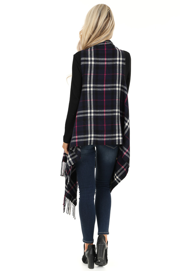 Navy Fuchsia and White Plaid Tapered Vest with Tassels back full body