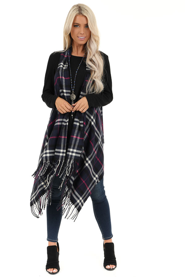 Navy Fuchsia and White Plaid Tapered Vest with Tassels front full body
