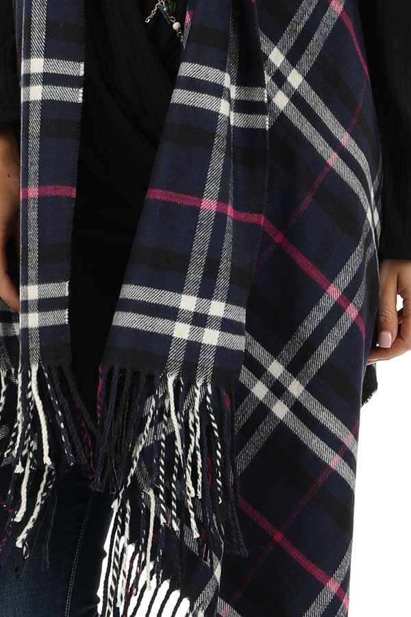 Navy Fuchsia and White Plaid Tapered Vest with Tassels detail