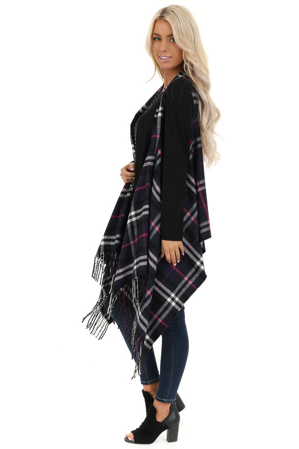 Navy Fuchsia and White Plaid Tapered Vest with Tassels side full body