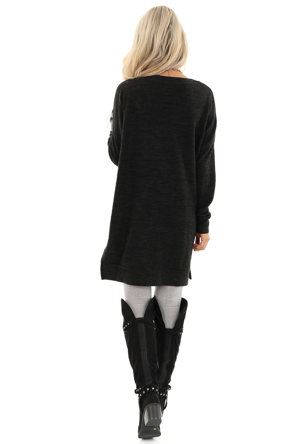 Charcoal Grey Two Tone Tunic Length Top with Long Sleeves back full body