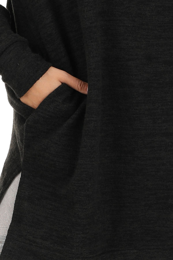 Charcoal Grey Two Tone Tunic Length Top with Long Sleeves detail