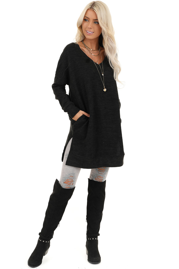 Charcoal Grey Two Tone Tunic Length Top with Long Sleeves front full body