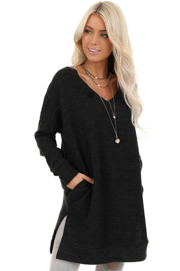 Charcoal Grey Two Tone Tunic Length Top with Long Sleeves front close up