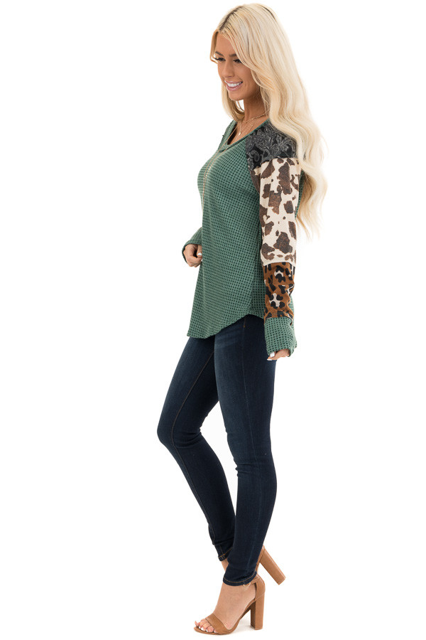 Teal Waffle Knit Top with Multi Print Color Block Sleeves side full body