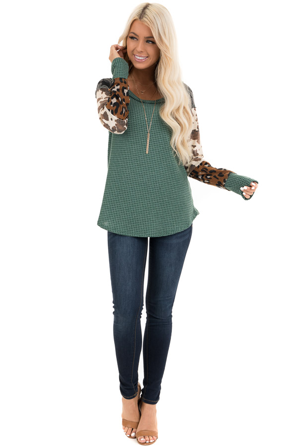 Teal Waffle Knit Top with Multi Print Color Block Sleeves front full body