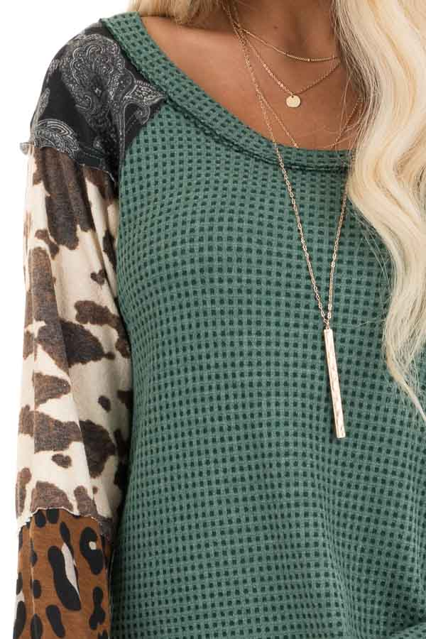 Teal Waffle Knit Top with Multi Print Color Block Sleeves detail