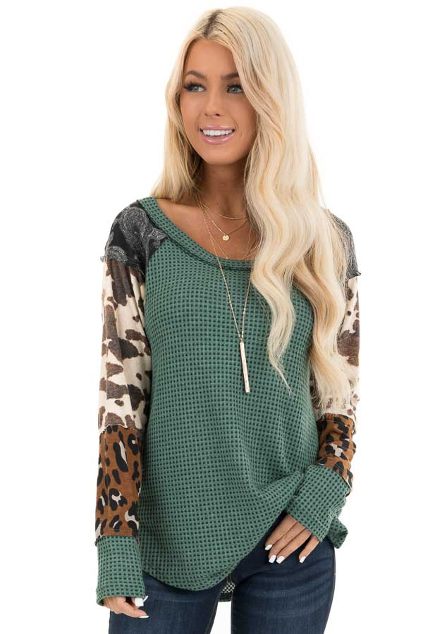 Teal Waffle Knit Top with Multi Print Color Block Sleeves front close up