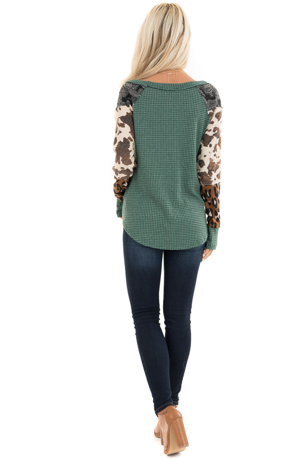 Teal Waffle Knit Top with Multi Print Color Block Sleeves back full body