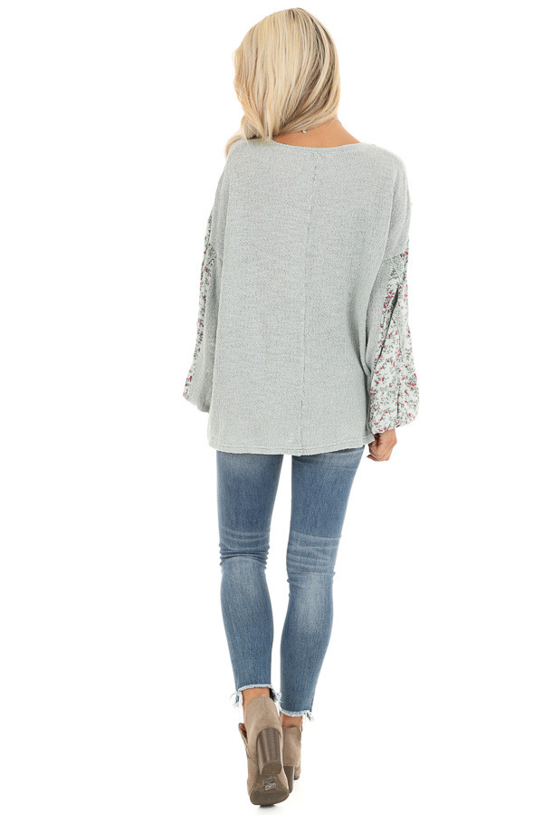 Sage Long Sleeve Top with Floral Contrast and Crochet Detail back full body