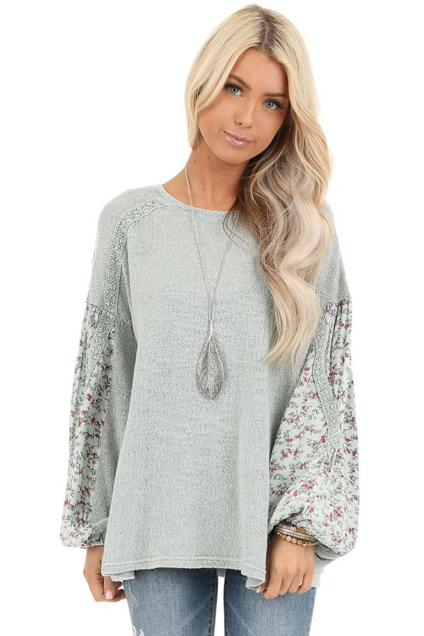 Sage Long Sleeve Top with Floral Contrast and Crochet Detail front close up