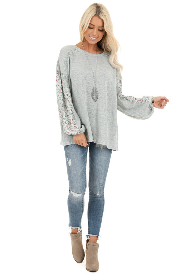 Sage Long Sleeve Top with Floral Contrast and Crochet Detail front full body