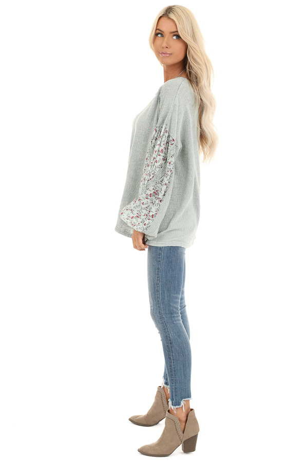 Sage Long Sleeve Top with Floral Contrast and Crochet Detail side full body
