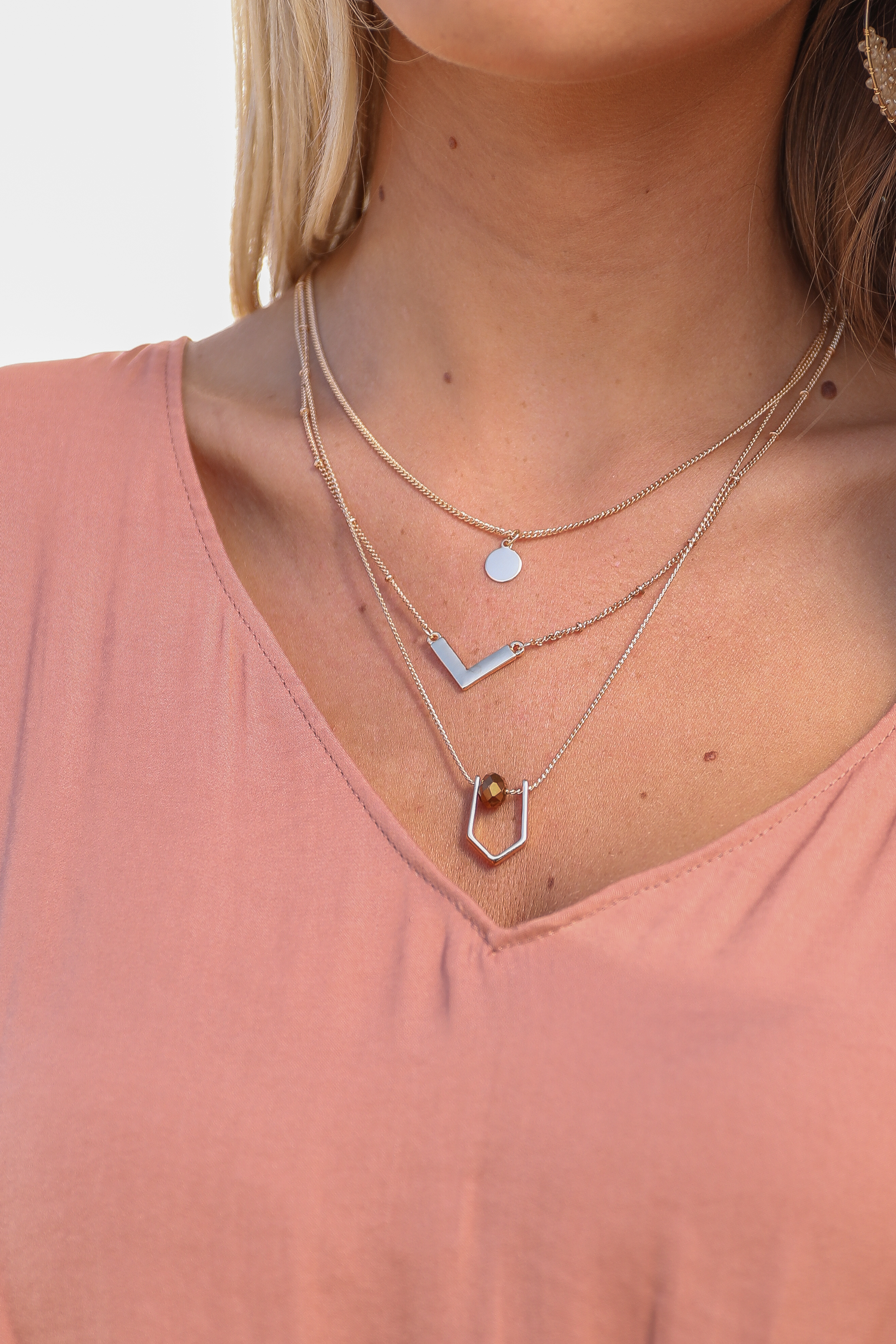 Antique Gold Layered Necklace with Geometric Pendant Details