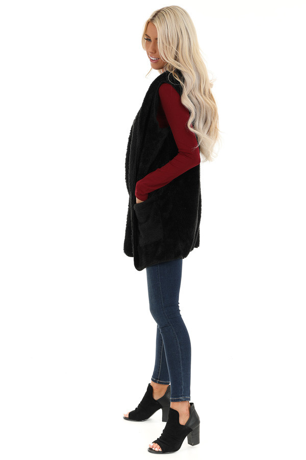 Raven Black Fluffy Hooded Open Front Vest with Pockets side full body