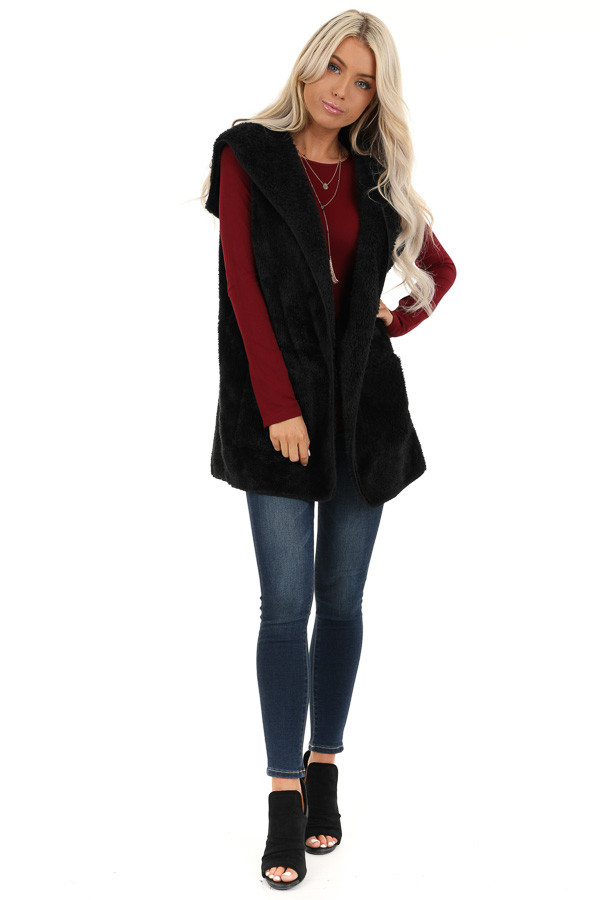 Raven Black Fluffy Hooded Open Front Vest with Pockets front full body