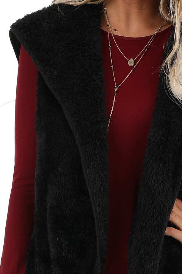Raven Black Fluffy Hooded Open Front Vest with Pockets detail