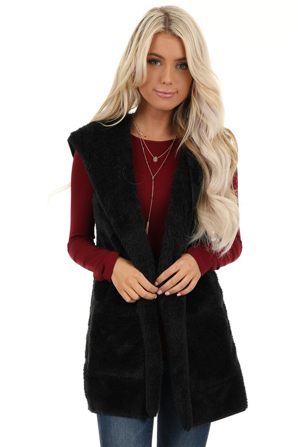 Raven Black Fluffy Hooded Open Front Vest with Pockets front close up