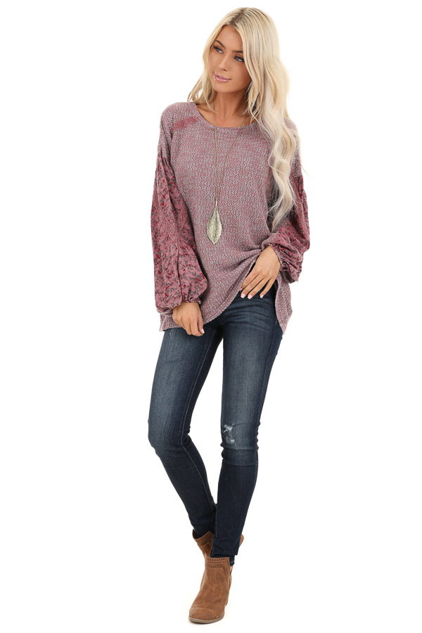 Rose Long Sleeve Top with Floral Contrast and Crochet Detail front full body