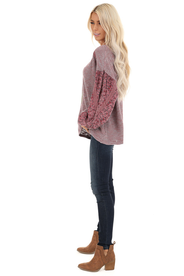 Rose Long Sleeve Top with Floral Contrast and Crochet Detail side full body