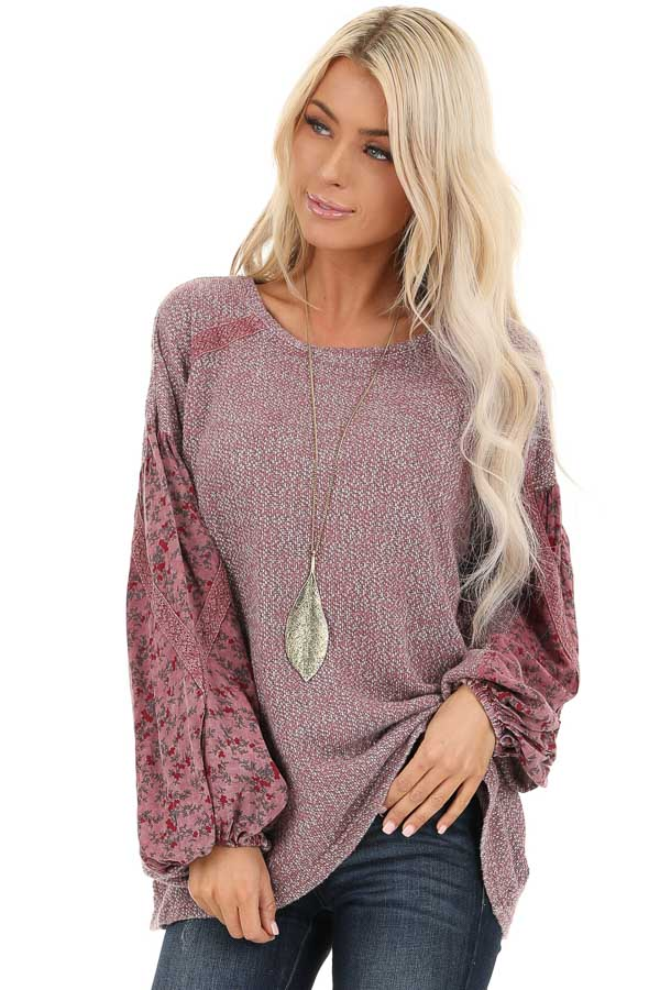 Rose Long Sleeve Top with Floral Contrast and Crochet Detail front close up