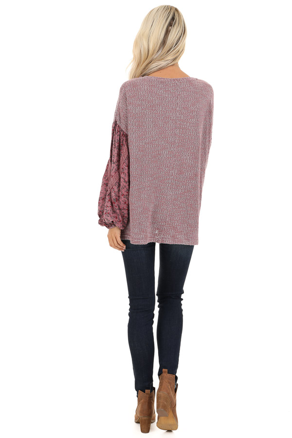 Rose Long Sleeve Top with Floral Contrast and Crochet Detail back full body