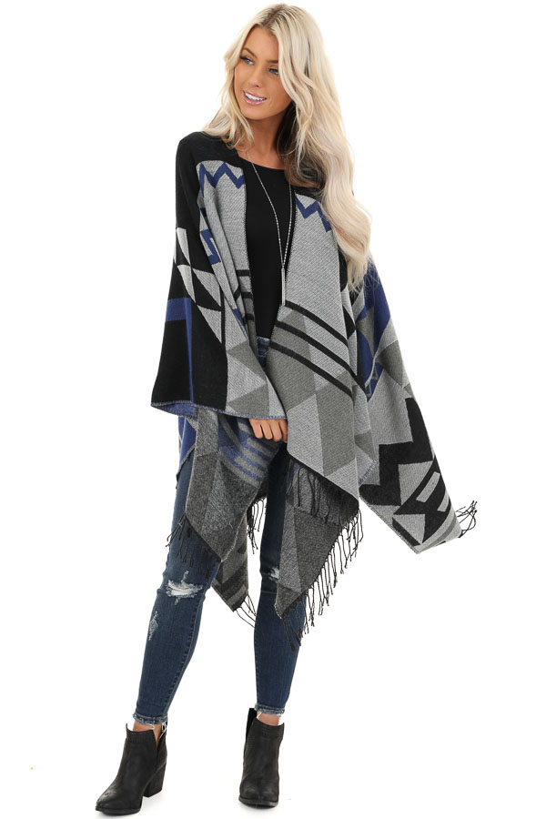 Black and Stormy Grey Aztec Print Shawl with Fringe Detail front full body