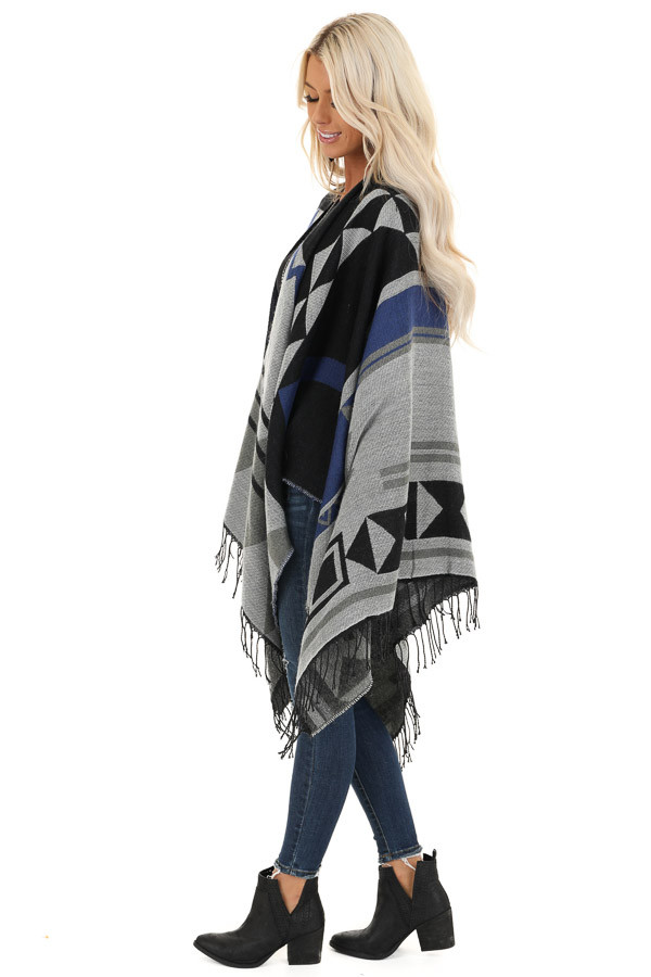 Black and Stormy Grey Aztec Print Shawl with Fringe Detail side full body