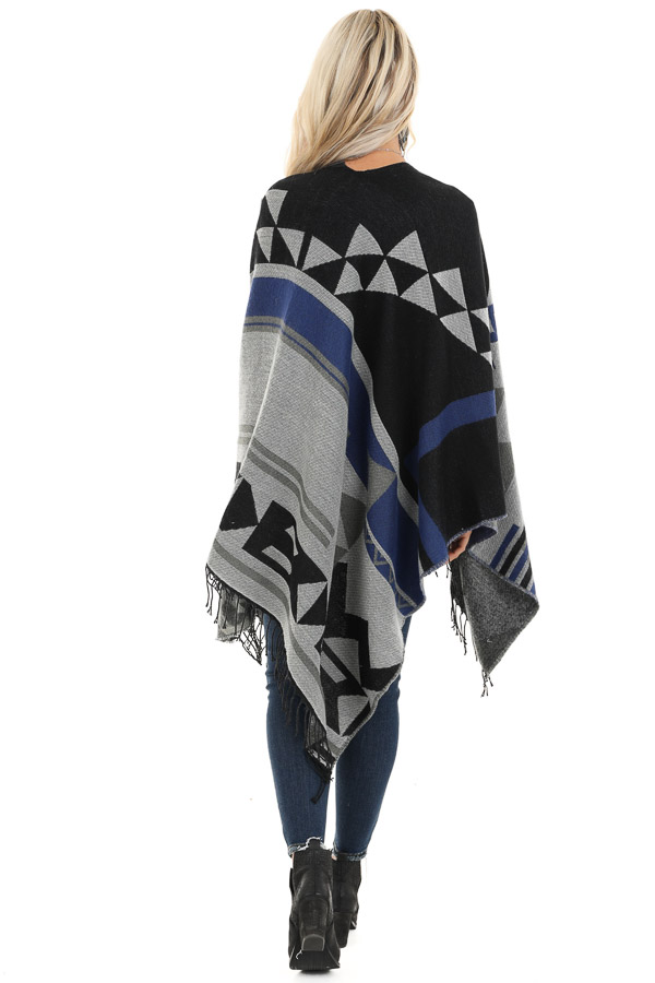 Black and Stormy Grey Aztec Print Shawl with Fringe Detail back full body