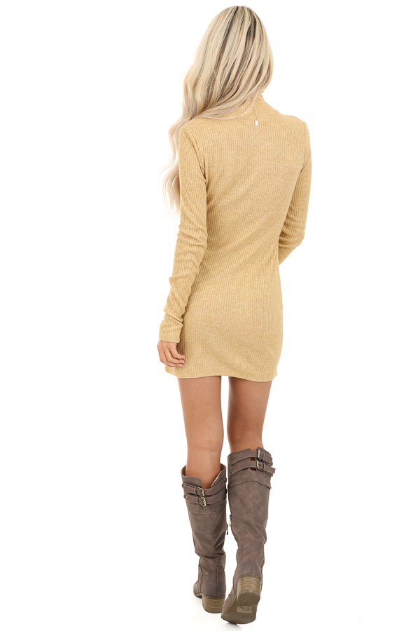 Butterscotch Yellow Turtleneck Long Sleeve Knit Mini Dress back full body