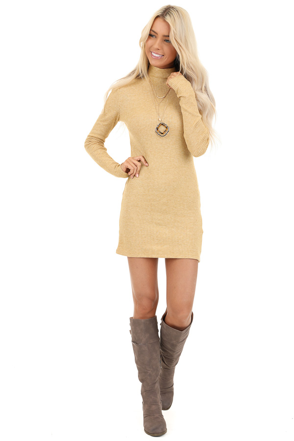 Butterscotch Yellow Turtleneck Long Sleeve Knit Mini Dress front full body