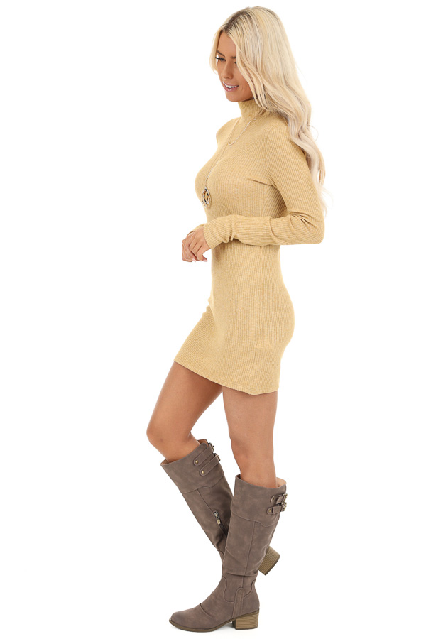 Butterscotch Yellow Turtleneck Long Sleeve Knit Mini Dress side full body