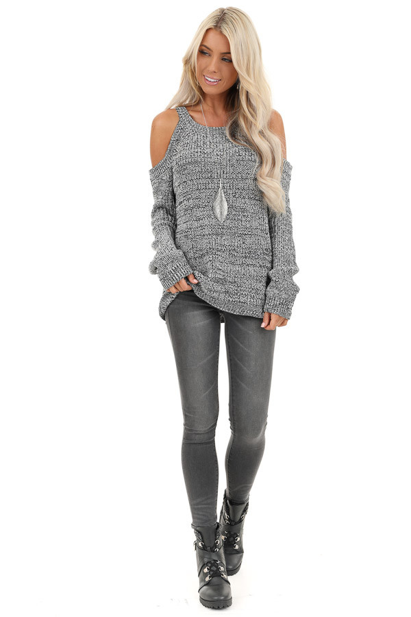 Black and Grey Knit Sweater with Cold Shoulders front full body
